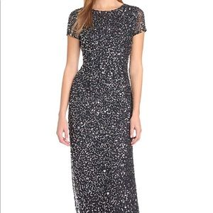 Adrianna Papell Women's short sleeve sequin gown